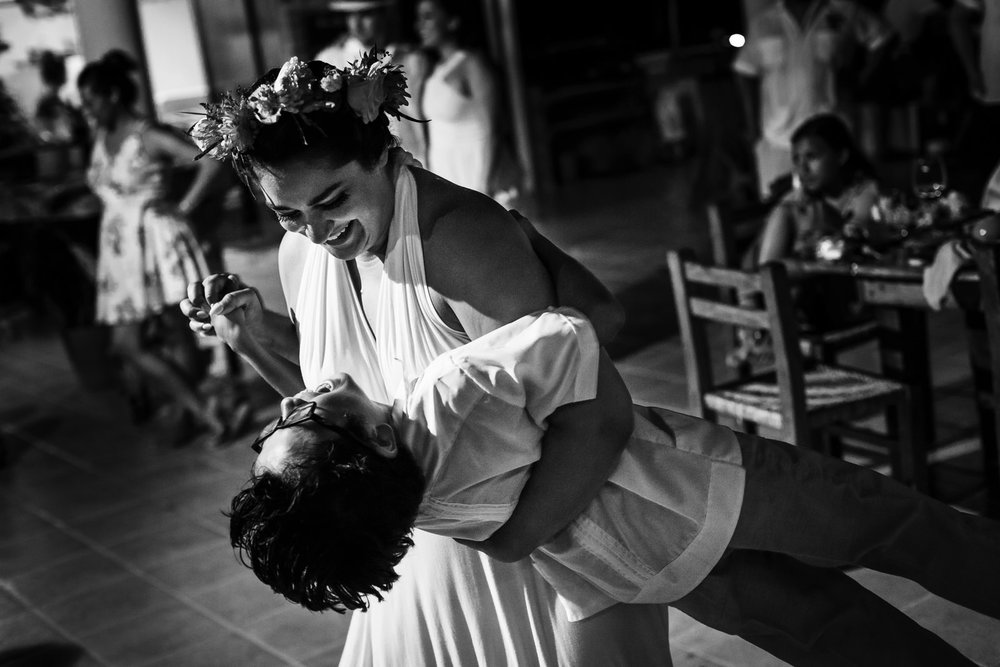 Bridesmaid and little groomsman dancing like crazy at Miramar terrace in Yelapa.