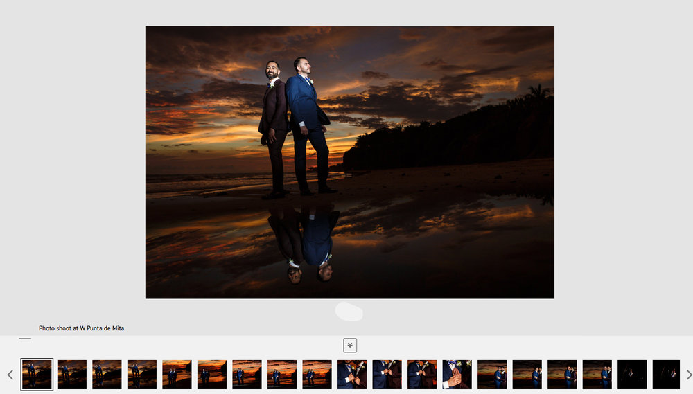 Gay couple, with a gorgeous sunset in the background, posing as part of their engagement photo session portraits.