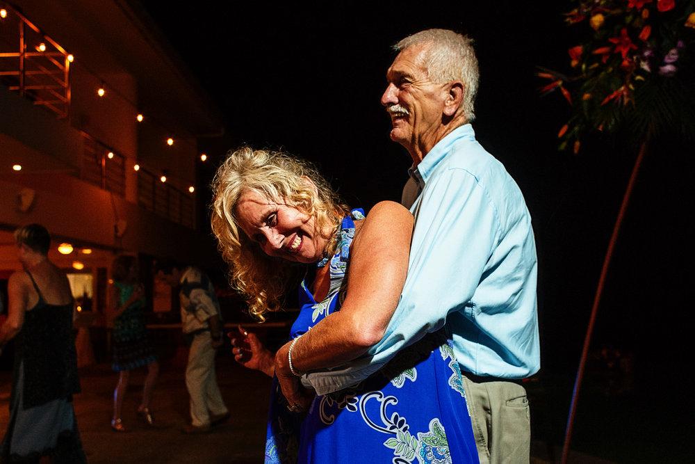 Senior couple dancing and having fun.