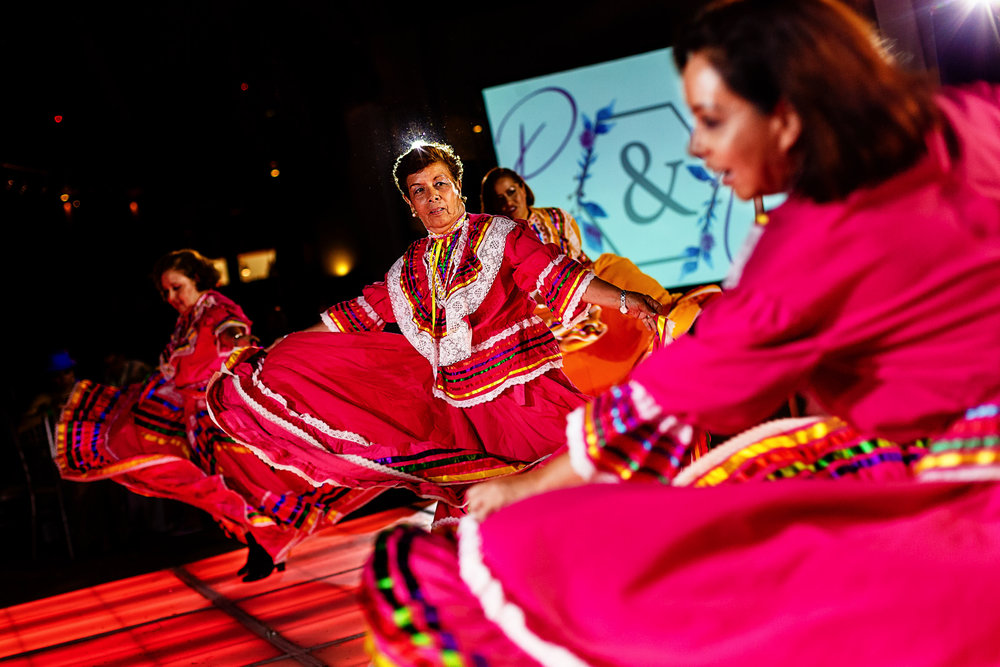 Traditional mexican dance on traditional mexican dresses.