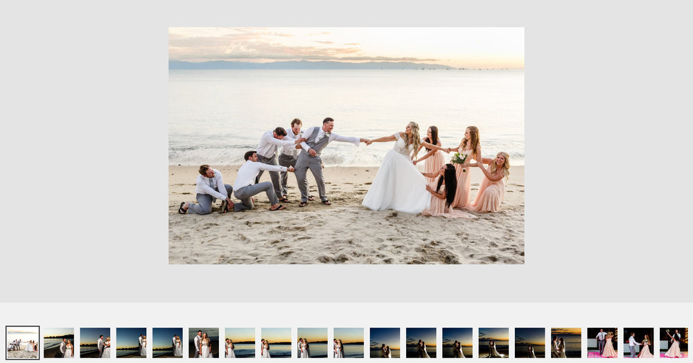 Groomsmen and bridesmaids fight to keep the groom and bride apart on the beach during the sunset.
