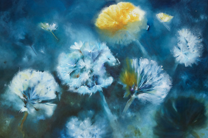 "Midnight Dandelions 48""x 72"""