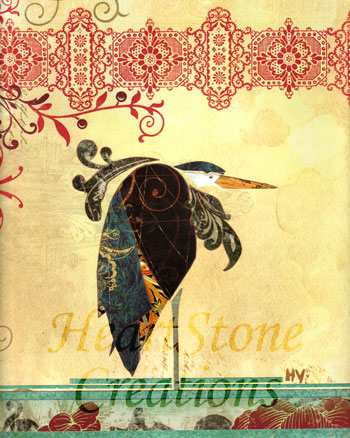 """Heron"" collage"