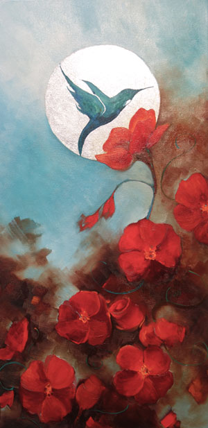 """""""Hummingbird & Roses"""" 12 X 24"""