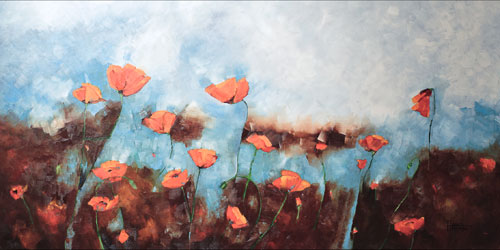 """When the Wind Came into the Poppy Fields"" 30 X 36  SOLD"