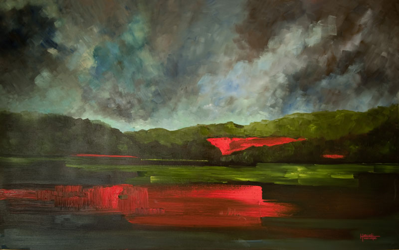 "Storm in the Poppy Field Oil 30"" X 48"" SOLD"