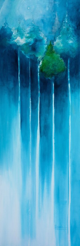 "Trees Drinking Starlight Oil 12"" X 36"""