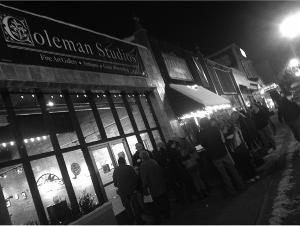 The massive line outside Coleman Studios on the opening night of the 100 Dollar Show. Needless to say, my mind was blown by all of these dedicated art lovers.  p hoto courtesy of painter Sarah Richards Samuelson
