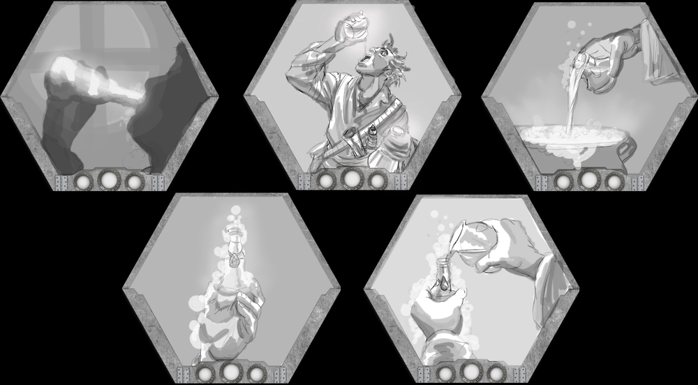 Visions of Zosimos Card Art Concepts