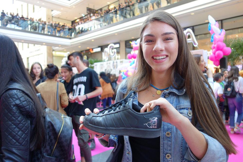 A happy sneakers fan