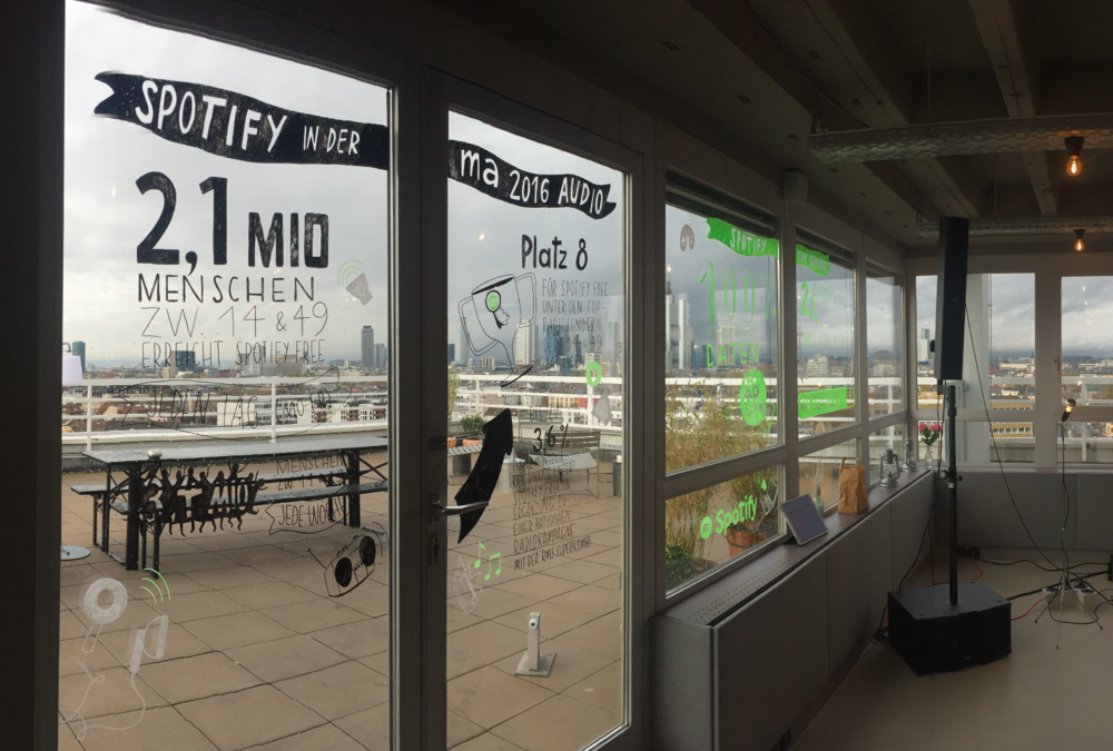"""Windows of """"Out Of Office"""" event space in Frankfurt, decorated for Spotify"""