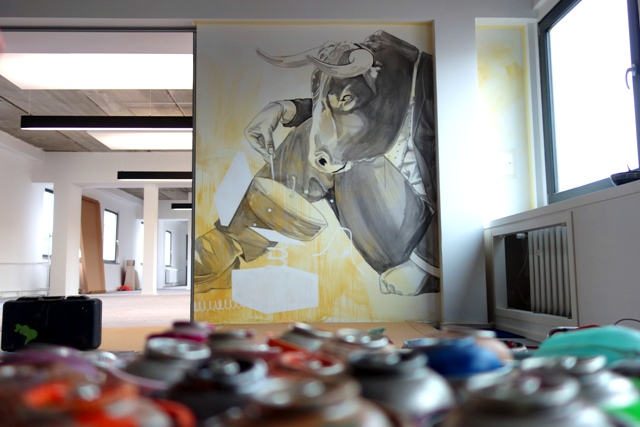 Office wall design by Innerfields at Number26 in Berlin.