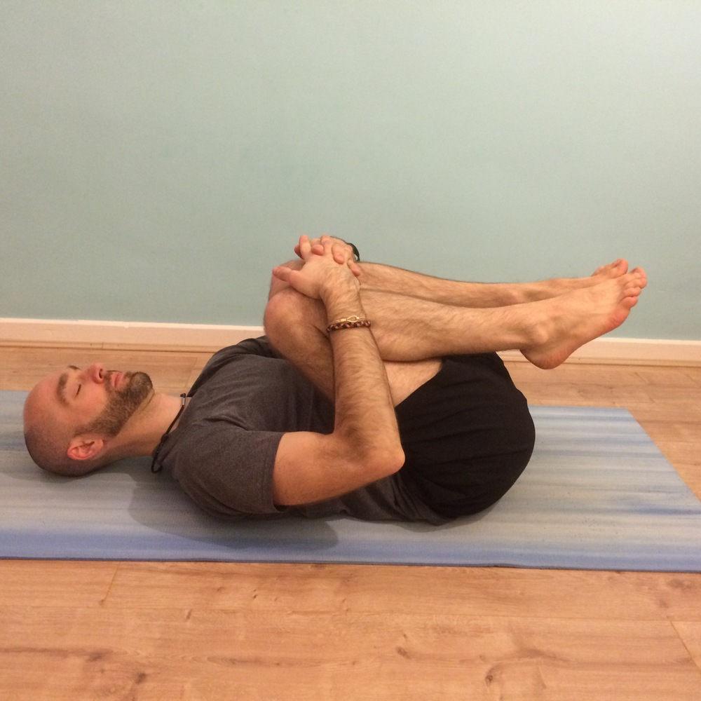 Apanasana: 8 – 10 breaths Draw your knees into the chest and take a gentle squeeze around the shins. You might like to add a gentle rock from side to side to massage out the lower back.