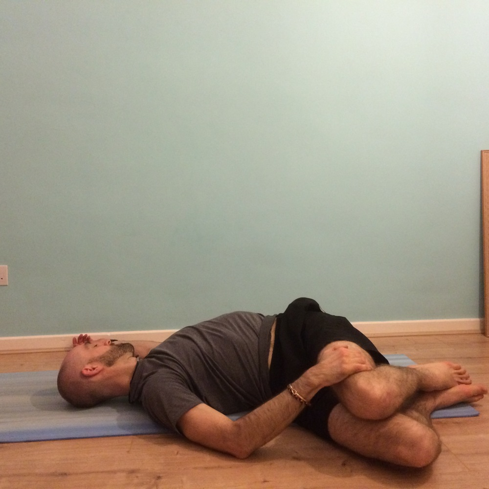 Reclining twist: 10 breaths to each side As above.