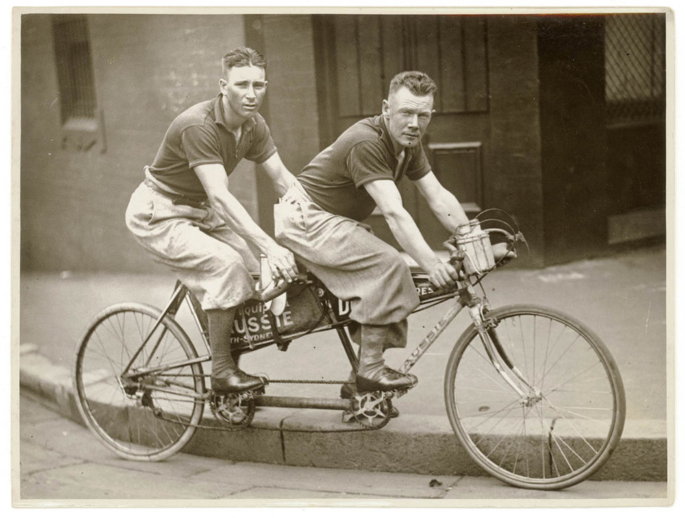 Gordon Jones (L) and Billy Read (R) in 1933 on their record breaking Perth to Sydney ride on an Aussie Tandem. Image courtesy State Library of NSW http://www.flickr.com/photos/statelibraryofnsw/albums