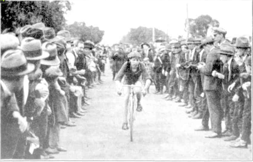 "At the finish, Golder on his ""The West"" racer."