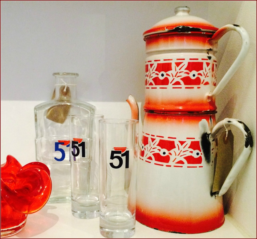 Go Bold!! :  Murano Glass 'bonbon' dish £19; '51' Carafe £15; '51'Pastis Glasses £8 pair; Enamel Coffee Pot £42