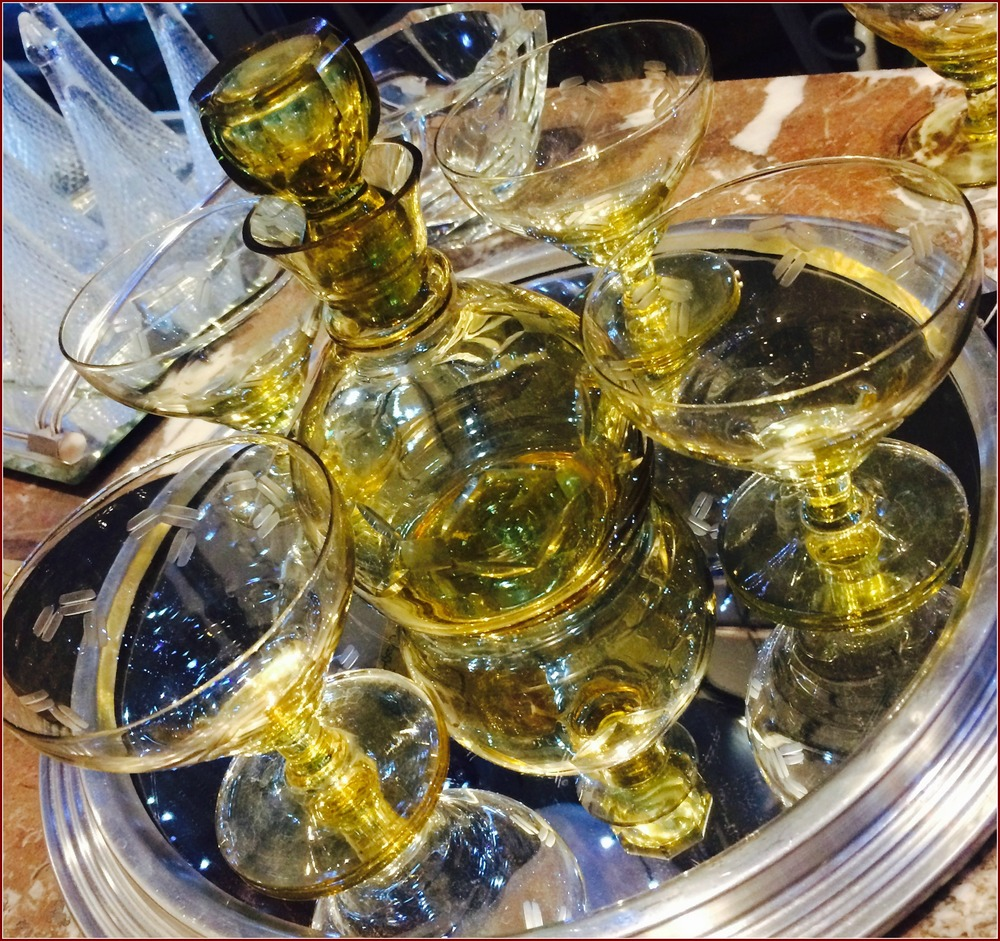 Cocktail Hour:  1950s French Mirrored Tray £32; Amber Glass Decanter £16