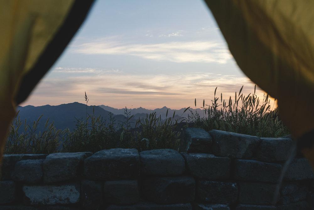 Utsikten fra teltet om morgenen.