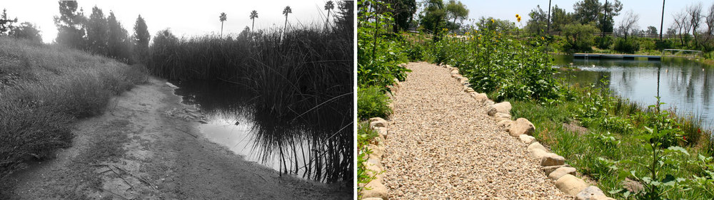 Providing access and interaction with the pond was vital.  The permeable trail system used locally quarried stone and cobbles.