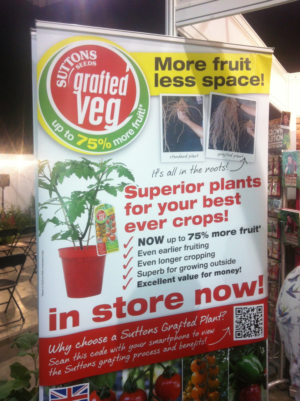 Suttons Seeds banner - showing how to use QR codes to add information about a product
