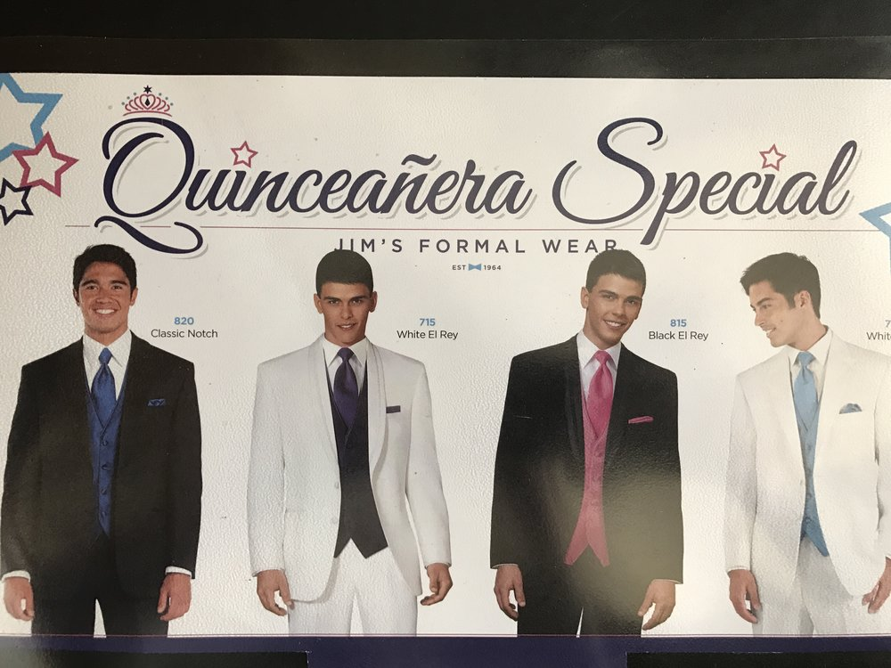 Quinceanera Special!    Come in with a group of 3 or more and your Quinceanera tuxedo will be only  89.95!*  This amazing deal is for groups renting classic black or white tuxedos only.    *  Accessories not included in this price.
