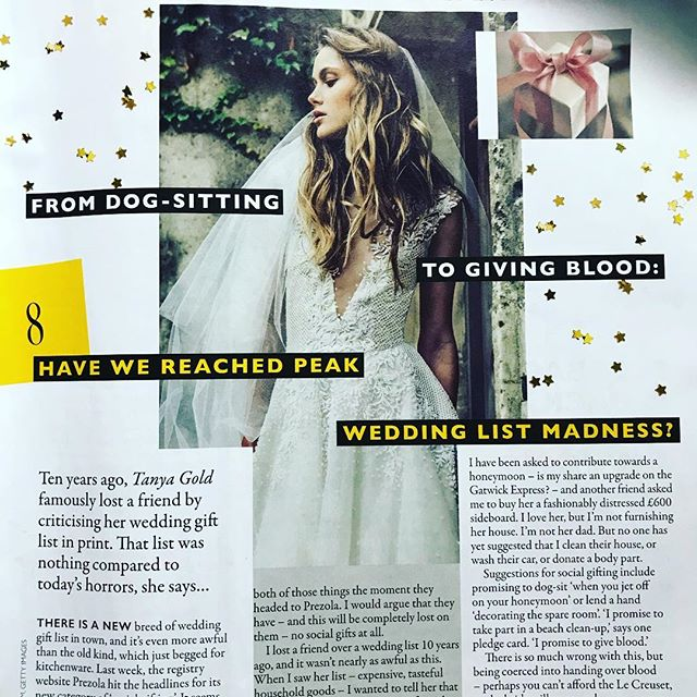 I've been slow to share this, but I wanted to point out that along with all the other interesting stuff in @graziauk this week (the Independent Group, an interview with a former ISIS bride, Fleabag) there is my personal favourite: Tanya Gold revisiting the time (10 years ago) when she wrote in the Guardian about her friend's awful wedding guest list and was then publicly uninvited from the wedding. Tanya's piece this week is so funny. Buy a copy - out until Monday!