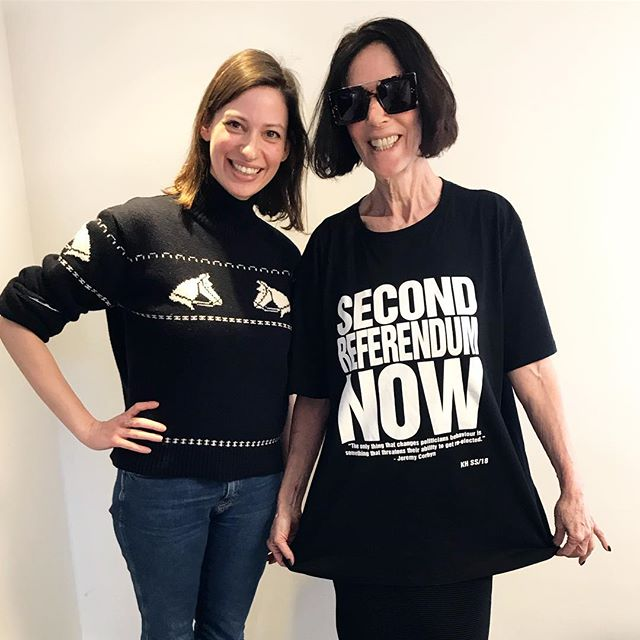YAS Katharine Hamnett! An extremely fun podcast recording this morning with one of the funniest and frankest women in fashion – coming to #GraziaLifeAdvice later this month 🖤