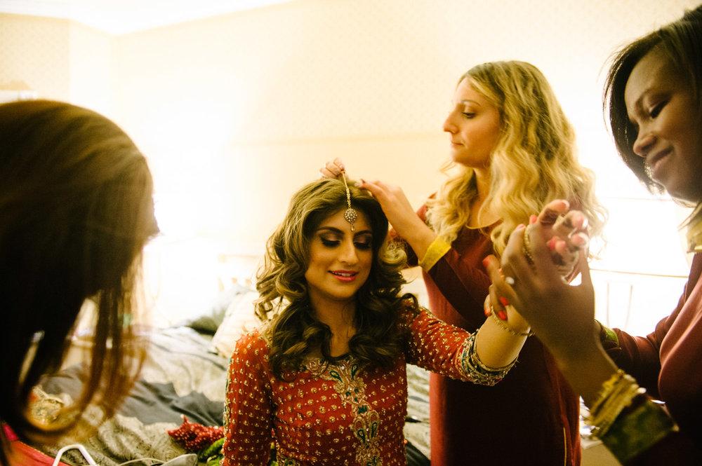 Makeup time for Pakistani Bride