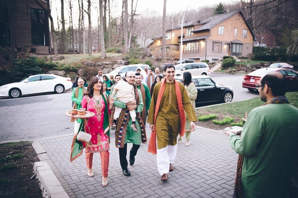 Pakistani groom walking to Mendhi