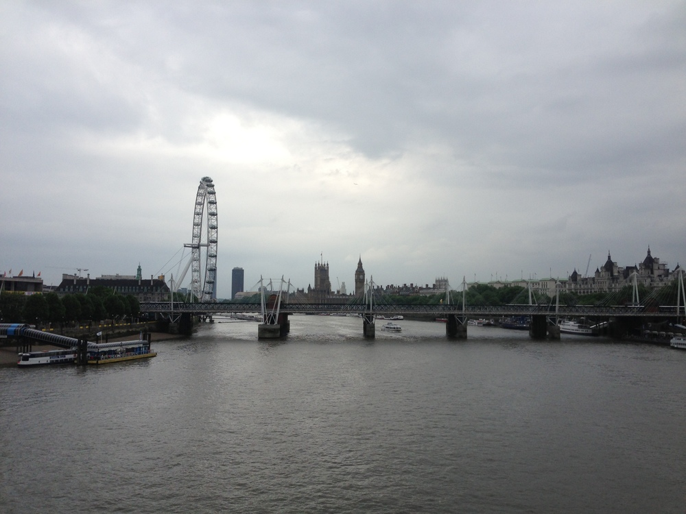 View of the London Eye and Parliament from Waterloo Bridge.