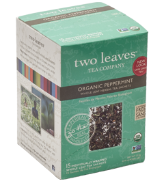 Organic Peppermint:  Can a bold, minty tea be refreshing and soothing? Allow us to introduce you to our organic, large cut peppermint leaves. This tea is entirely caffeine free and is a great after-dinner mint. A zing for your taste buds, rich aroma for your nose and a gift for your psyche.