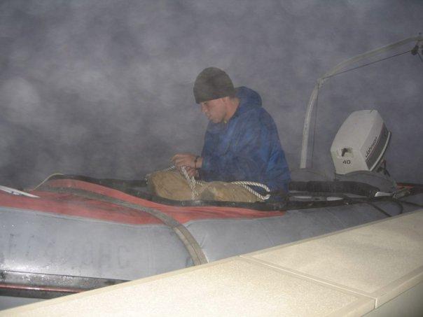 Caught in a dead fog lowering an emergency boat