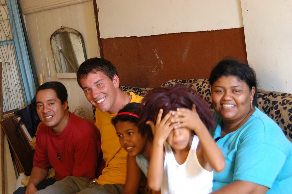 Vance making friends in San Filipe, Panama