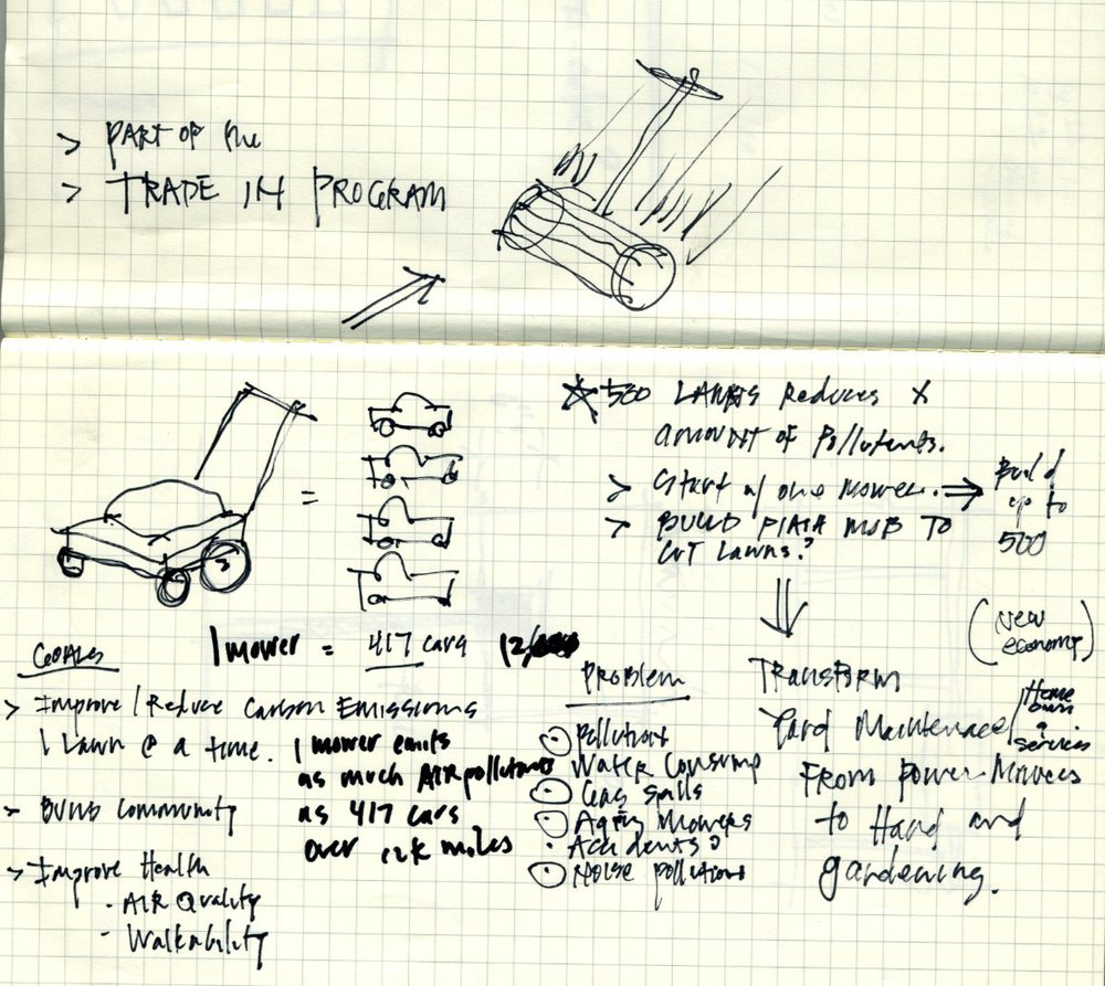 A conceptual sketch for the lawnmower project and the answer is right in front of you
