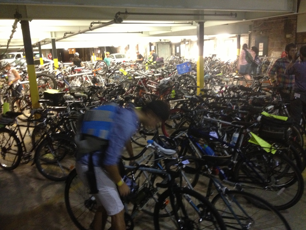 Check out the parking lot, over 75% of people rode their bike to the party.