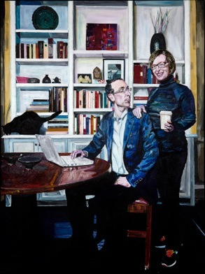 "Michael Hambouz, Todd and Kathy (for David), 30""x40"", Acrylic on Canvas, 2012"