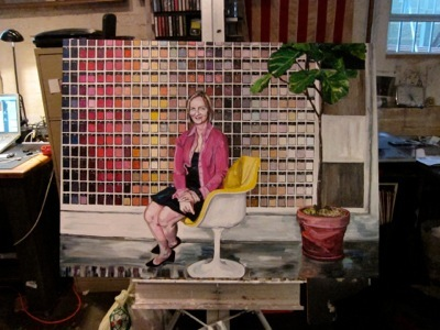 "Karen, Knoll Showroom ,  30""x40"", Acrylic and Varnish on   Canvas, 2012"