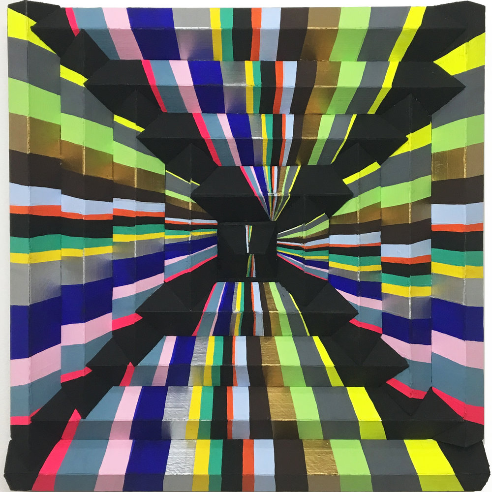 """More or Less In Tents , 2017, 18"""" x 18"""" x 1"""", Acrylic, Enamel, and Flashe on Multidimensional Panel."""