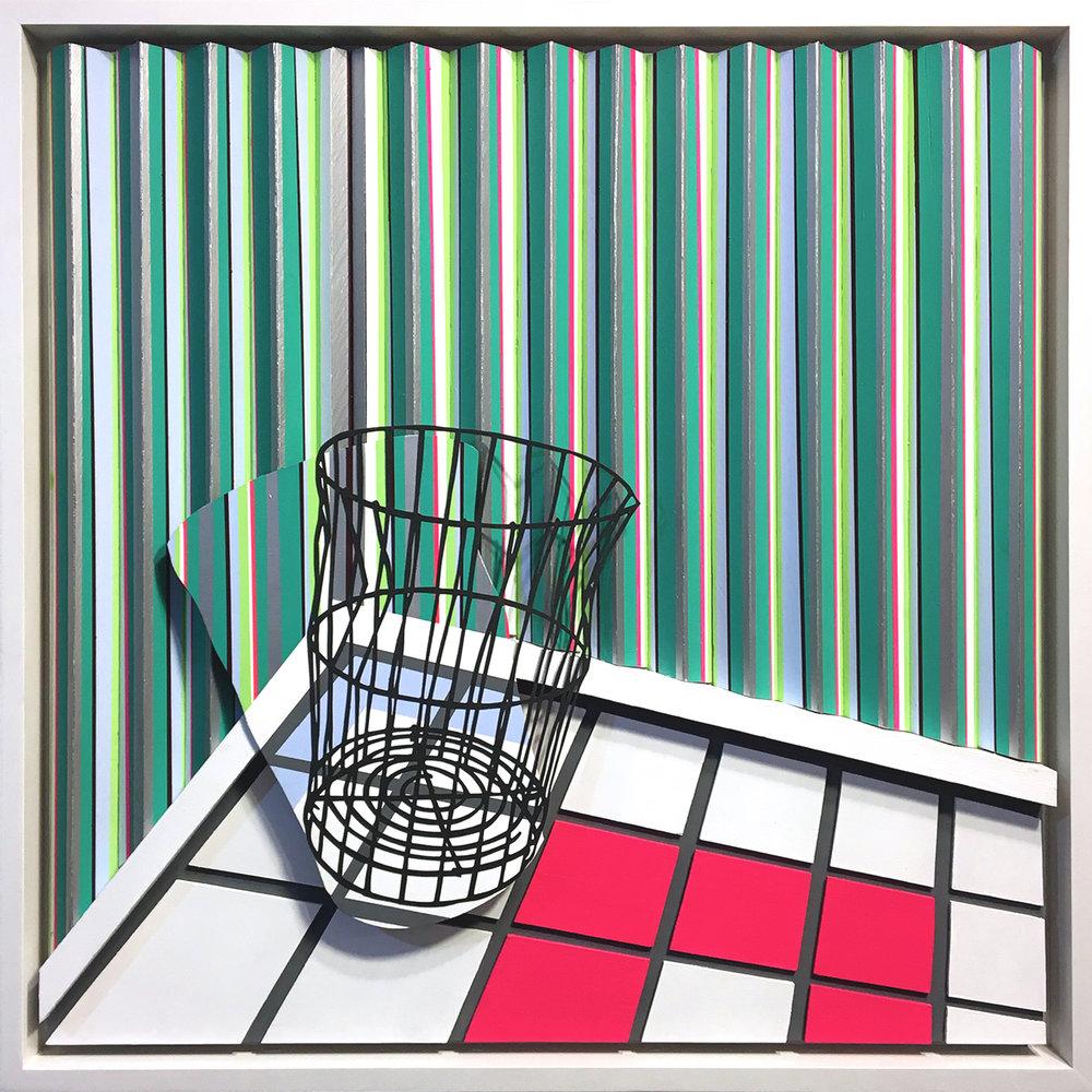 "Geist Zeit , 2017, 30"" x 30"" x2.5"""", Acrylic, Enamel, Flashe and Cut Paper on Layered Multidimensional Panels"