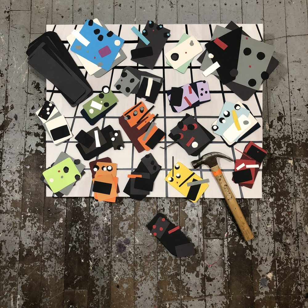 """Why Use a Screwdriver When You Have A Perfectly Good Hammer? , 2018   Acrylic, enamel, flashe, paper, wood, hammer, and shadows on and off panel, 24""""-ish x 30""""-ish x 3"""""""