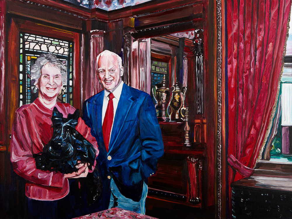 "Tom, Tess, and Nellie Schutte, 2012  Acrylic and varnish on canvas  30"" x 40"""