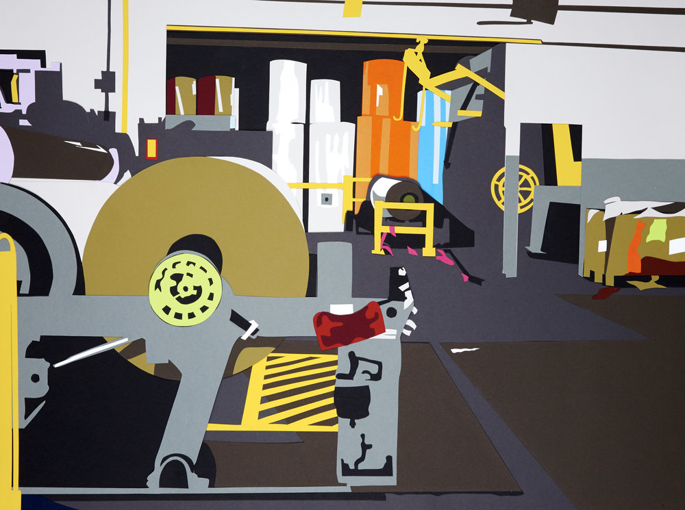 "Factory Made #6 , 2014  Hand-cut paper collage  26"" x 35"""