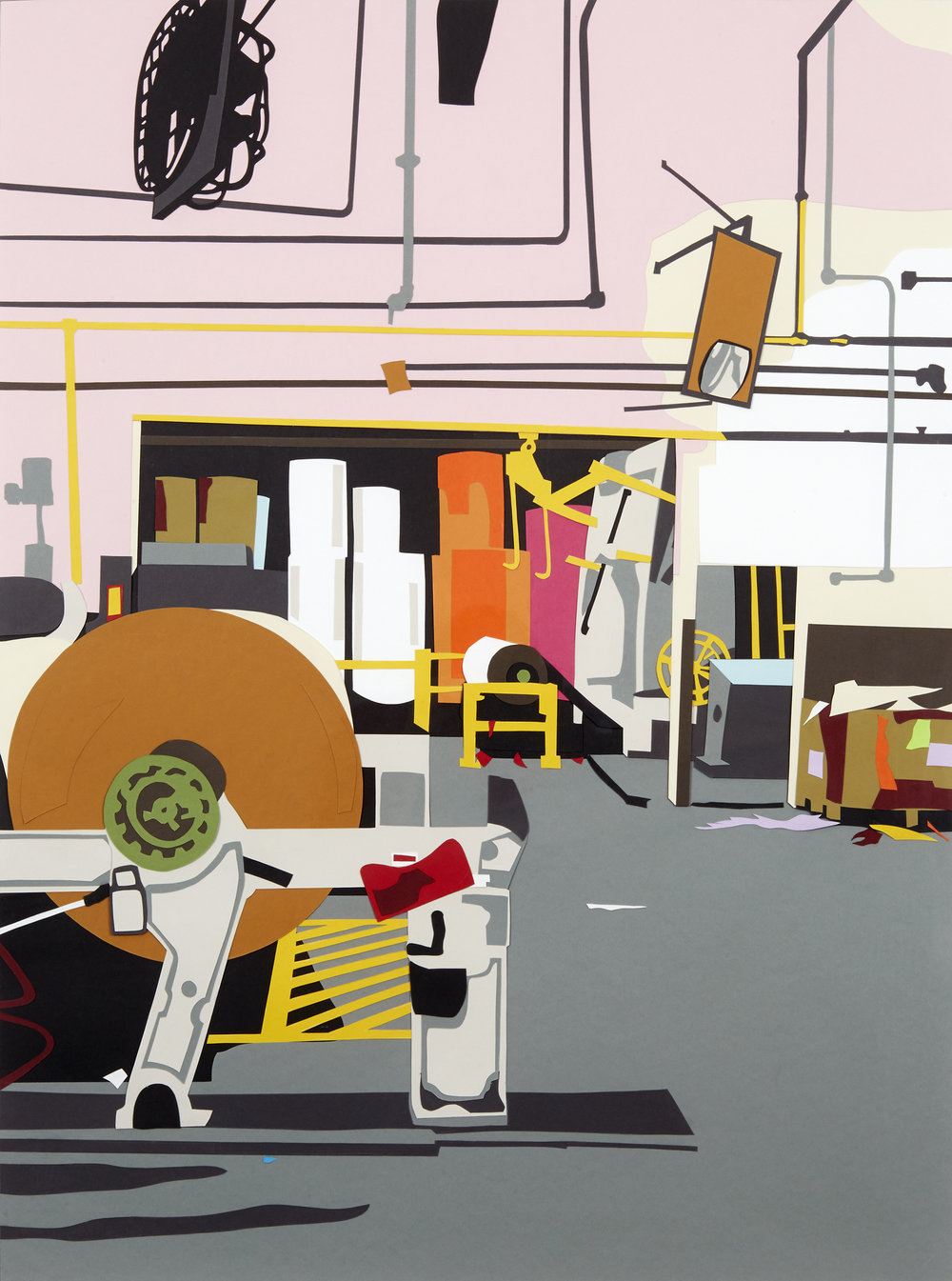 "Factory Made #19 , 2014  Hand-cut paper collage  35"" x 26""  [Private Collection]"
