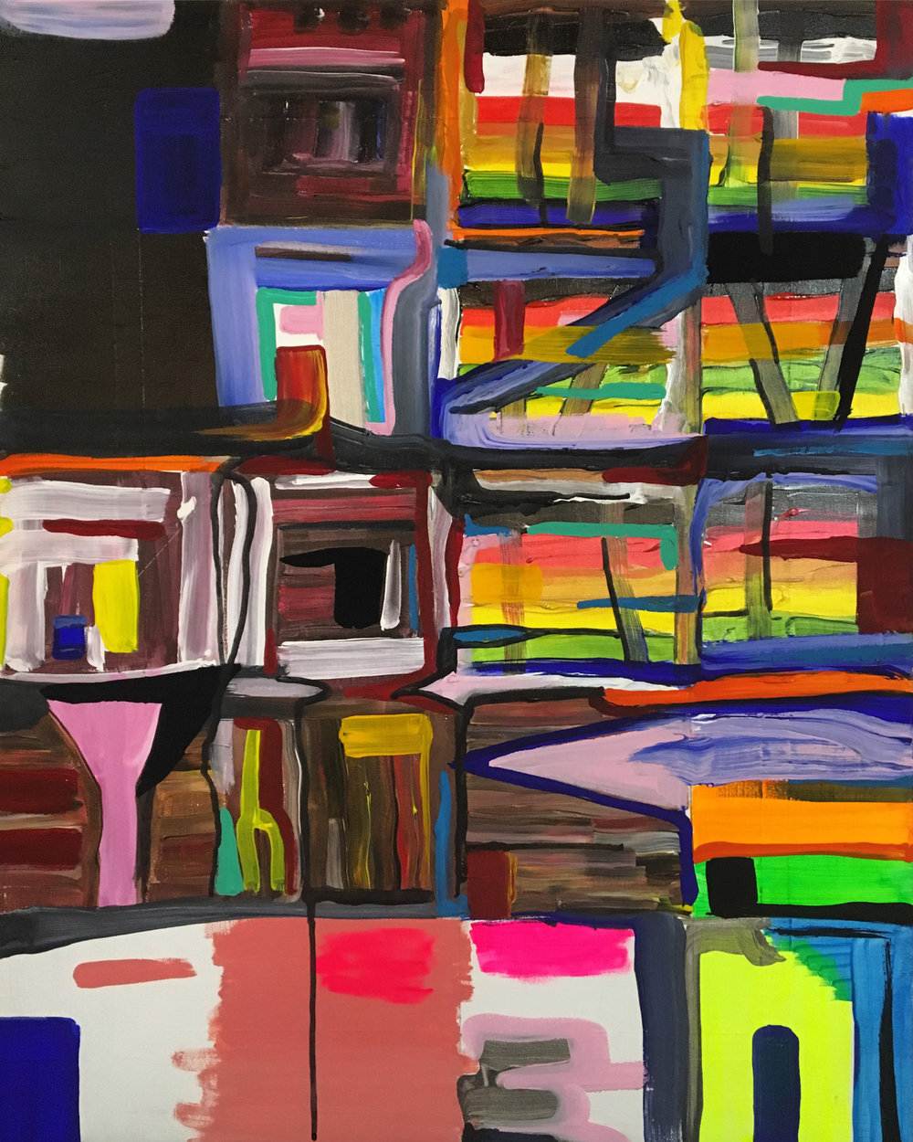 """Apartments of the Holy , 2018  Acrylic, enamel, flashe, sumi ink, ground silver, and varnish on canvas  30"""" x 24"""""""