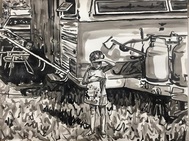 """Stuck , 2017  Sumi ink, and silver pigment on paper  22"""" x 30"""""""