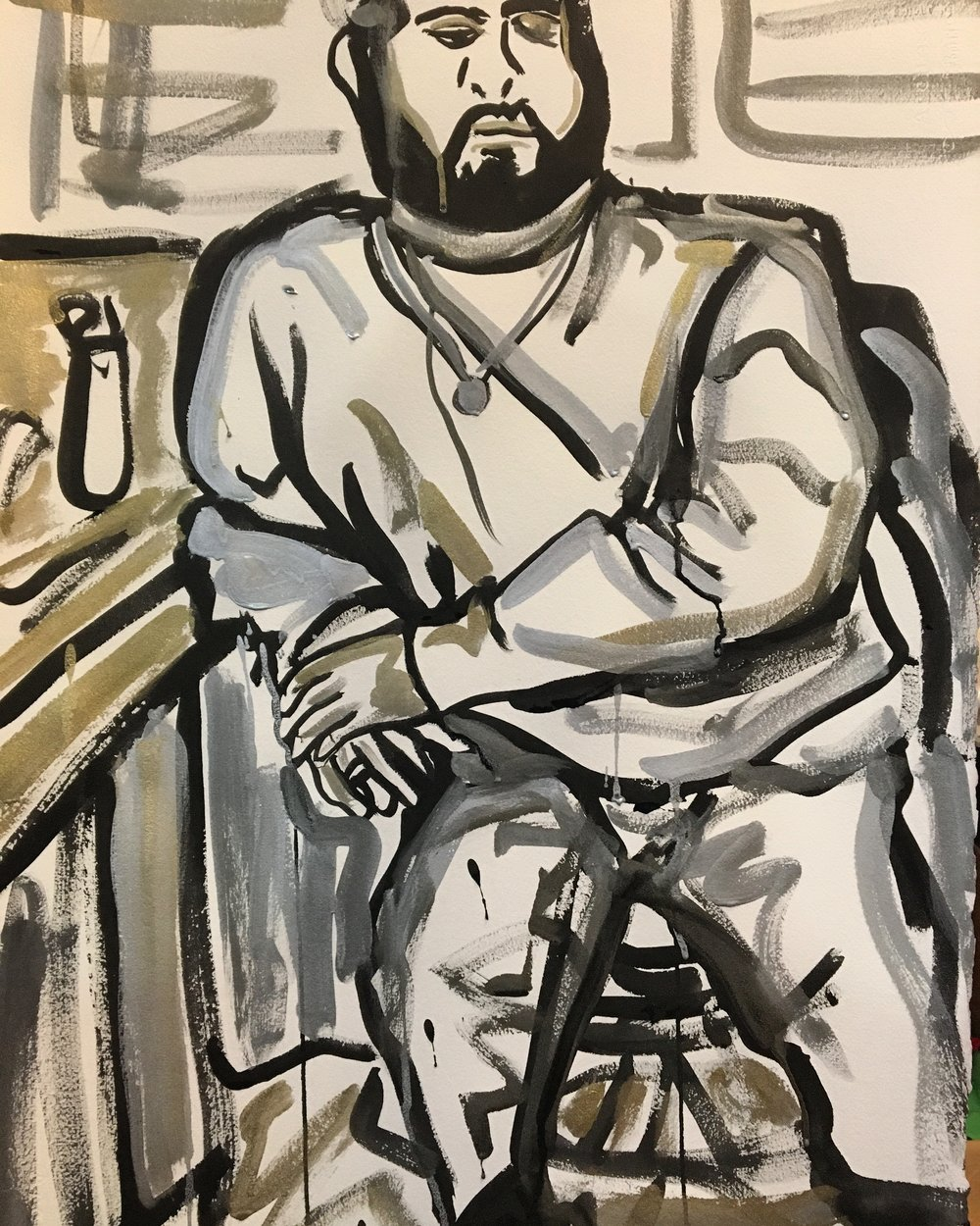 """Sam (Sabri) , 2018  Sumi ink, and silver and gold pigment on paper  30"""" x 22""""  [Private Collection]"""