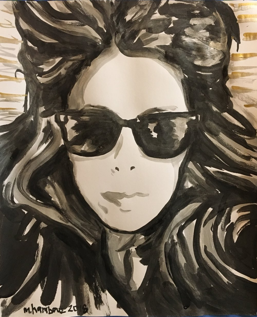 """Kelly , 2018  Sumi ink, and silver and gold pigment on paper  30"""" x 22""""  [Private Collection]"""