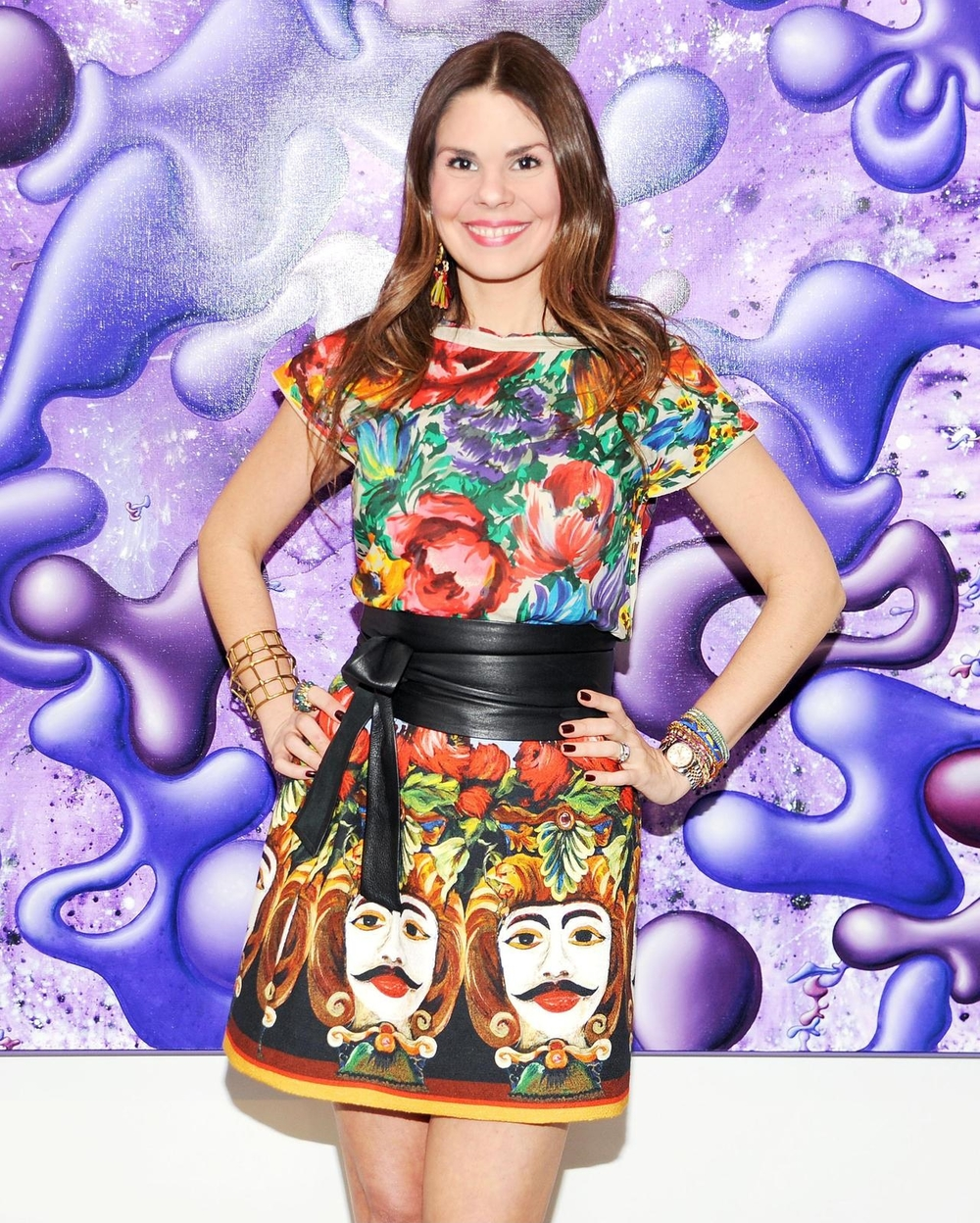 Love my Dolce & Gabbana outfit against the purple background of one of Kenny's canvases.