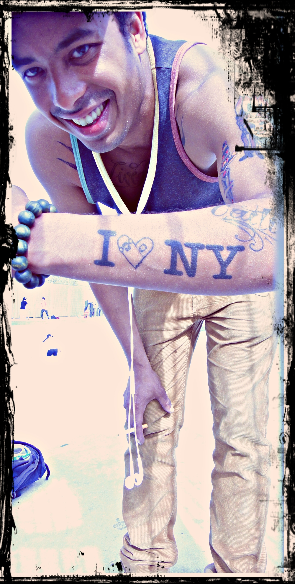 One of the skaters had the coolest tattoo. We all love NYC.